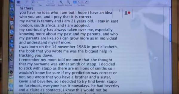 泰米十多歲時, 她使用臉書尋找最後的團聚。 於是,她發送一封郵件給一...
