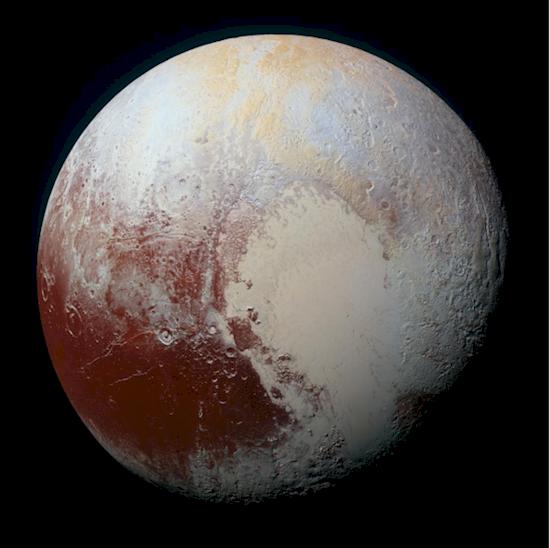 8. 在太陽系河段外, 冥王星展現了令人驚訝的各種顏色。