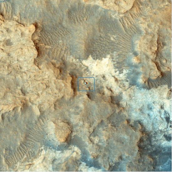 2. 在火星偵察軌道器拍攝的火星表面上發現好奇號。