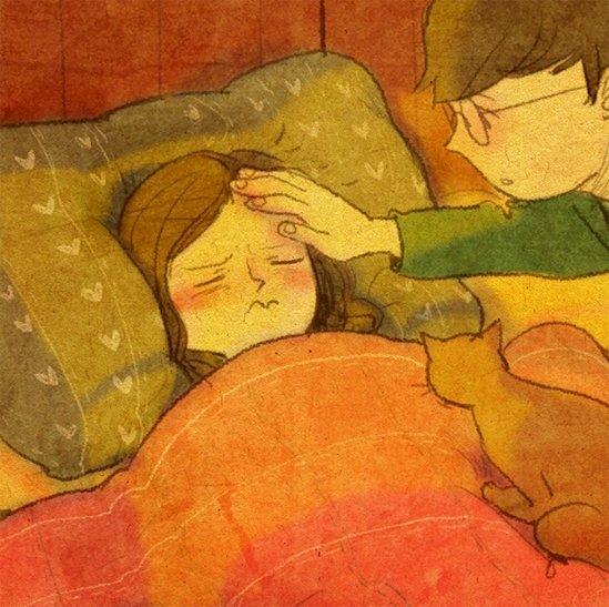 對方生病的時候給予照顧。