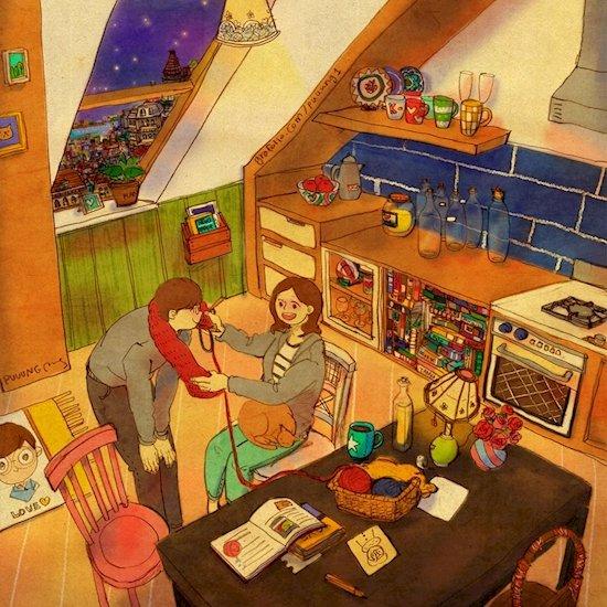 Puuung以可愛和詳細的插畫獨特地描述了這種愛。
