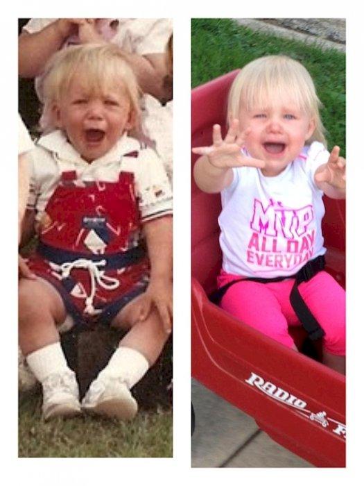22. 父親(左)和女兒(右)顯示他們世代相傳的表情。