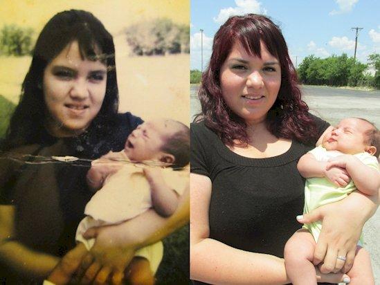 21. 母親(左)和女兒(右), 相隔41年的照片。