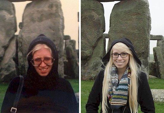11. 在左邊的母親是26歲, 34年後的女兒 (右)23歲, 同樣是在巨石陣拍攝...