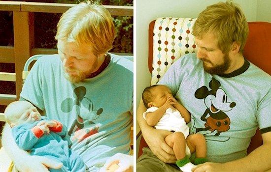 12. 左邊的父親和右邊的兒子在相同年紀——29歲的時候, 並抱著同樣是兩...