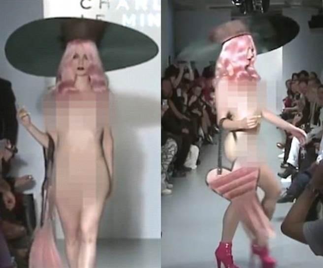 從影片可見,裸身的模特兒登場時,許多觀眾紛紛拿出手機拍下奇異的畫面...