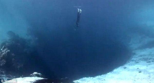 只能說沒有什麼人膽敢接近這個藍洞, 更別說潛到了底部。