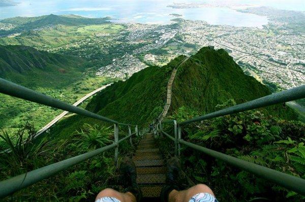據說這不對外開放的俳句樓梯或「天國的階梯」仍然是一個熱門的登山地點...
