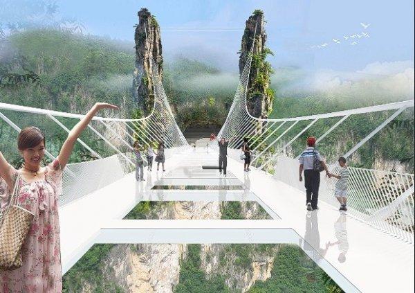 當下一個湖南省玻璃吊橋完成後的設計圖。