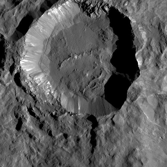 12. 在矮行星穀神, 黎明號探測器發現了一個 16英里寬的隕石坑。