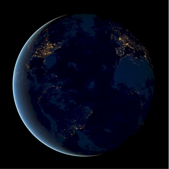 16. 當夜晚降臨到身在地球表面的我們, 很輕易就看到哪裡住著最多的人口...