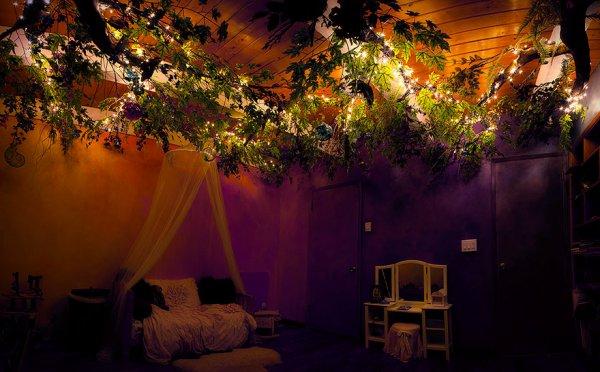 他將聖誕燈放在樹枝之間,這樣可以讓燈光變暗,像星星一樣。