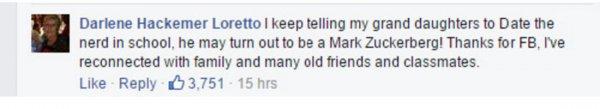 有超多27千人在他的狀態更新下留言, 但有趣的是一位老奶奶在底下留言道...