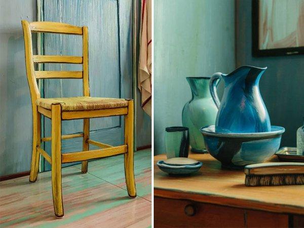 裡面各種家具上漆後,放佛如是從畫中拿下來的東西。