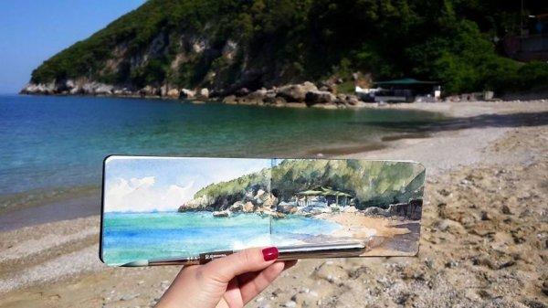 位於希臘皮立翁山, 寧靜的海灘