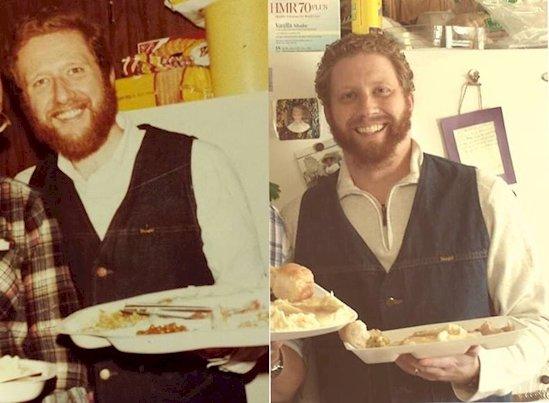 5. 1978年的父親, 2013年的兒子(右)。