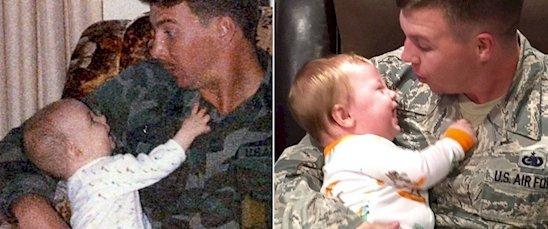 15. 有其父必有其子, 同樣是當空軍的父與子(右), 在逗樂兒子。