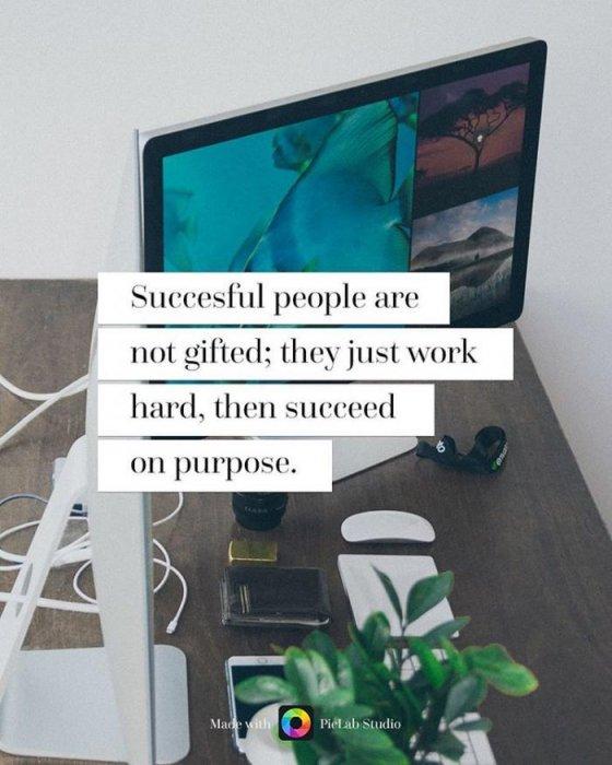 13. 成功的人並沒有天賦,他們只是付出了努力,然後自然的成功。