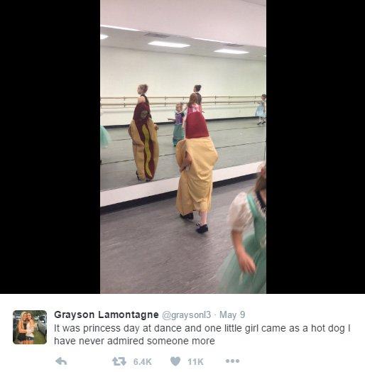 而舞蹈班的老師莎拉∙納迪微說艾因斯利會選擇穿這套服裝是因為熱狗是她...