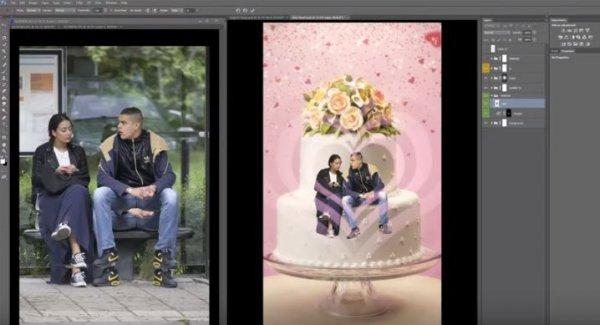 接下來這對是真正的情侶,他們被P到結婚蛋糕上後,看起來就是那麼的甜...