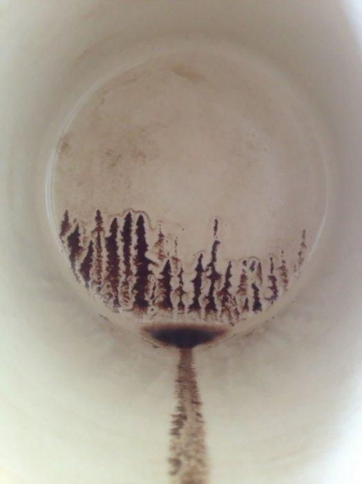 3.  最後一口咖啡畫了一副森林剪影