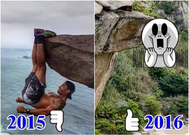 巴西一名健美的男子於去年在當地一塊大石倒吊拍照,讓人誤以為他在300米...