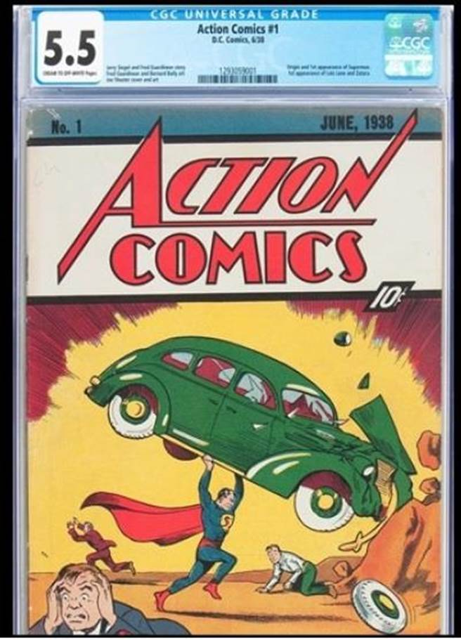 1938年首次出版的《超人》漫畫,於4日在拍賣會中以接近95.6萬美元的天價賣...