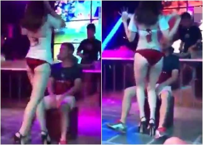 男性的女友在台下醋意大發,闖上台後二話不說便將鋼管女推倒在地,惡女...